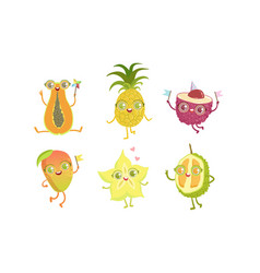 funny tropical fruit characters set papaya vector image