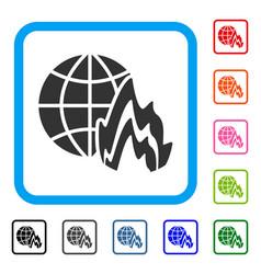 Global fire framed icon vector