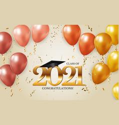Graduation class 2021 with cap hat vector