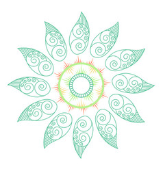 Green leaf mandala in soft pastel colors vector