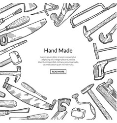 hand drawn carpentry elements background vector image