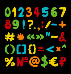 Hand drawn set of numbers punctuation vector