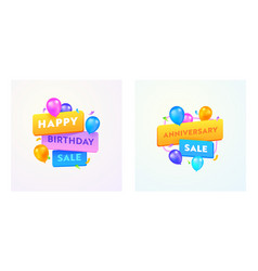 Happy birthday or anniversary sale advertising vector