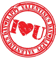 Happy valentine day I Love you stamp vector image