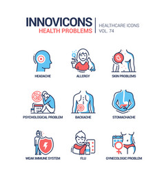 Health problems line design style icons set vector
