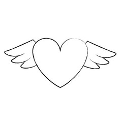 heart with wings sketch vector image