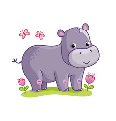 Hippo standing in meadow with flowers vector