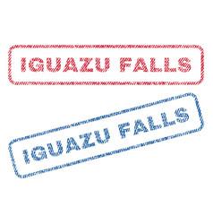 Iguazu falls textile stamps vector
