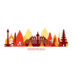 Indonesia architecture landmarks skyline shape vector