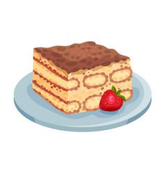 Italian tiramisu cake layered with whipped cream vector