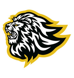 lion logo line art mascot vector image