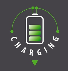 Logo battery is recharged via a cable vector
