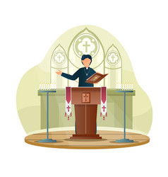 Male priest is giving speech from tribune vector