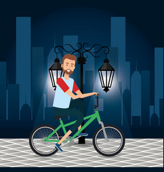man with bicycle in the cityscape vector image