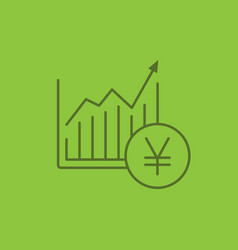 market growth chart color linear icon vector image
