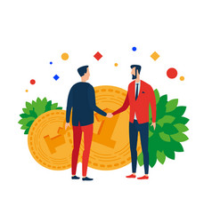 men on the background of money shake hands vector image