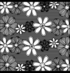 Monochrome pattern of rows flowers with stripes vector