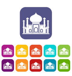 Mosque icons set vector
