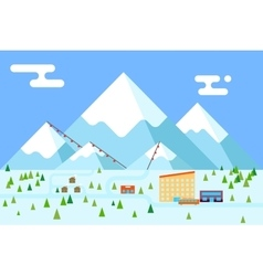 Mountain village hotel ski resort holidays bus vector