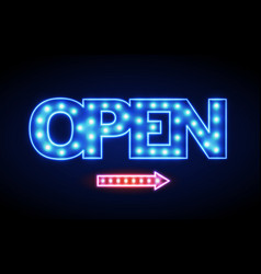 Neon sign open vintage electric signboard vector