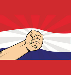 Netherlands fight protest symbol with strong hand vector