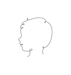 one line child head design silhouette vector image