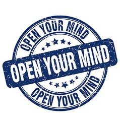 Open your mind blue grunge round vintage rubber vector