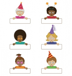 Party children holding name tags vector