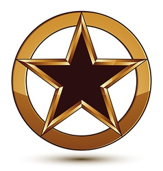 Refined black star emblem with golden outline 3d vector
