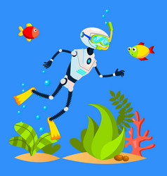 Robot tourist swimming among fish with diving mask vector
