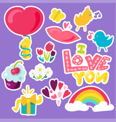 romantic love patches set in doodle style with vector image