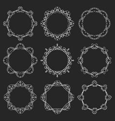 Round calligraphy blackboard frames vector