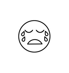 Sad cry emoticon vector