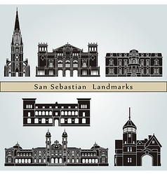 San Sebastian landmarks and monuments vector image