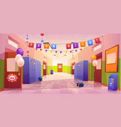 School or college hall after prom night vector