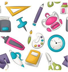 school supplies theme seamless pattern vector image