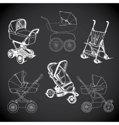 set hand drawn baby carriage stroller baby vector image