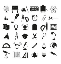 Set of back to school 36 icons study vector