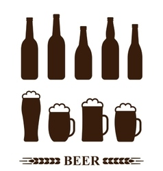 set of beer bottle and mug with foam vector image