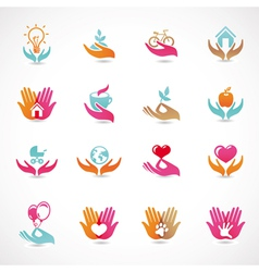 set with signs love and care vector image