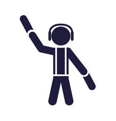 Silhouette human airport worker signal vector