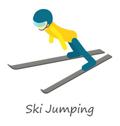 Ski jumping icon isometric style vector