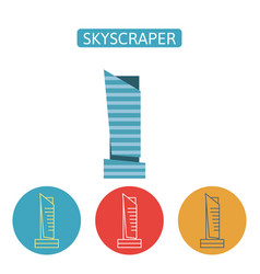 skyscraper building flat icons set vector image
