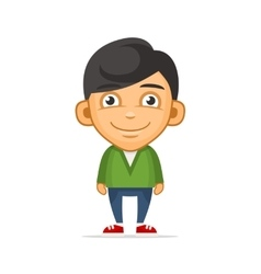 Smiling boy wearing green sweater vector