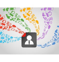 Social media content flows to avatar vector