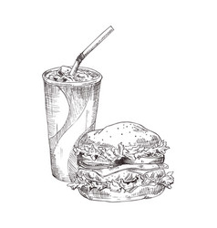 soft drink in cup hamburger vector image