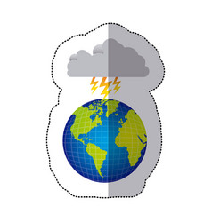 Sticker colorful earth world cloud with cloud with vector