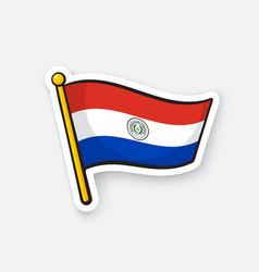 Sticker national flag paraguay on flagstaff vector