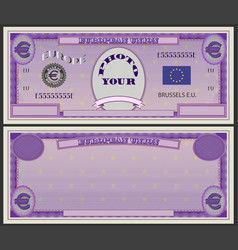 stylistic violet banknote blank with euro sign vector image