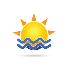 sun with blue sea icon vector image